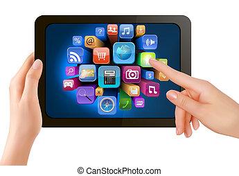 det er, skærm, icons., hånd, pc., røre, vektor, pad, finger, holde, berøring