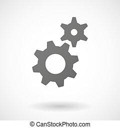det gears, ikon, baggrund, hvid