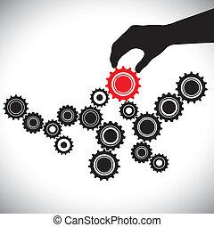 det gengi'r, grafik, kontrollerede, person(leader), og, betydningen, glatt, illustration, denne, vektor, sort rød, nøgle, hold, balance, hvid, fungerer, cogwheels, hand(person)., indgreb
