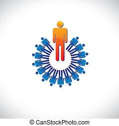 det gengi'r, grafik, ligesom, farverig, også, abstrakt, illustration, arbejdsgiver, osv., driftsleder, followers., ansatte, begreb, leder, arbejder