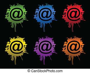 det splatters, vektor, email, /, blæk