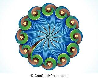 detaljeret, cirkel, fjer, abstrakt, kunstneriske