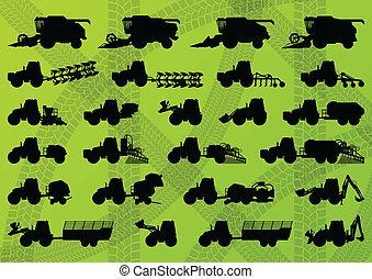 detaljeret, forbinder, industriel, lastbiler, høstmaskiner, traktorer, illustration, udrustning, silhuetter, vektor, gravemaskiner, samling, baggrund, avlsbrug, landbrug