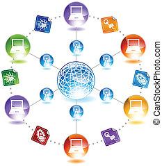 diagram, virus, sæt, email, ikon