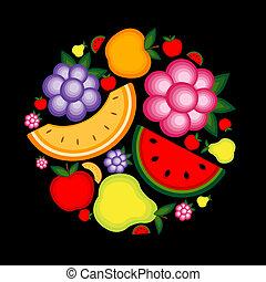 din, frugt, baggrund, konstruktion, energi