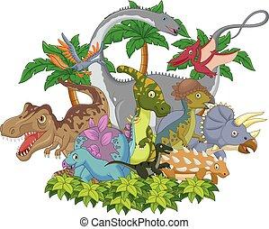dinosaurus, cartoon, dyr