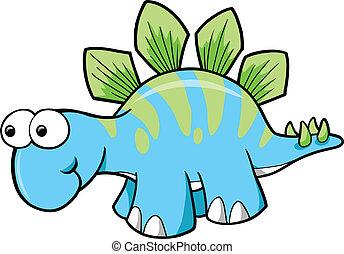 dinosaurus, stegosaurus, vektor, dumme
