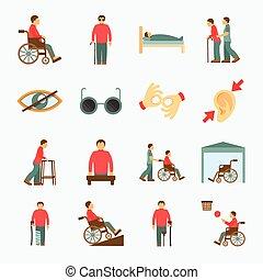 disabled, lejlighed, sæt, iconerne
