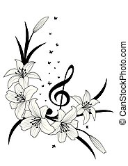 diskant, lilje, sommerfugle, clef