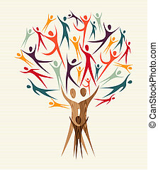 diversity, sæt, træ, folk