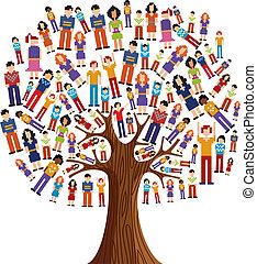diversity, træ, pixel, menneske
