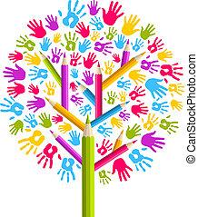 diversity, undervisning, træ, hænder