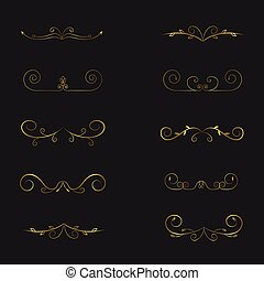dividers, side, calligraphic