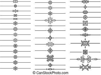 dividers, stor, separators, calligraphic, sæt, tekst, firmanavnet, geometriske, monoline, din, elementer, design.
