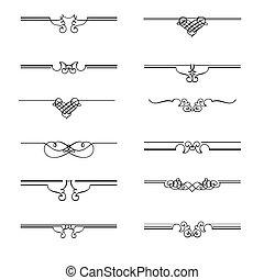 dividers, vektor, side, calligraphic