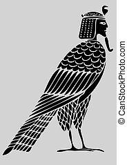 djævel, fugl, -, sjæle, ægyptisk