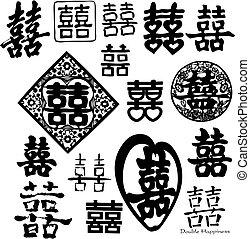 dobbelt, kinesisk, lykke