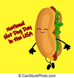dog., morsom, plakat, national, hund, cartoon, hede, etikette, stamp., eller, dag