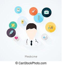 doktor, karakter, illustration, vektor, icons., medicin