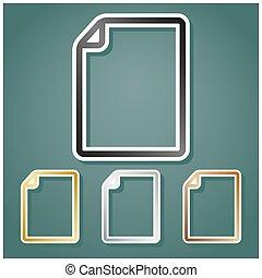 dokument, hældning, sæt, baggrund., illustration., bronce, hvid, iconerne, guld, vertikal, gråne, skygge, kontur, metallisk, viridan, sølv, tegn