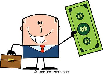 dollar, holde, forretningsmand