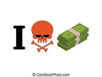 dollare., finansielle, ligesom, kranium, symbol, wad, penge., indkassere., anti, ikke, emblem, had, hade