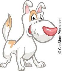 domkraft, russel, hund, illustration., vektor, terrier, morsom, cartoon.