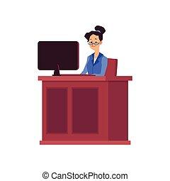 dommer, illustration, lov bane, lejlighed, vektor, isolated., karakter, kvinde, cartoon