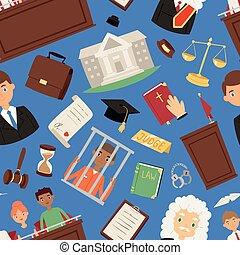 dommer, sagfører, jury, folk, retfærdighed, illegale, out-law, illustration, bedømmelse, person, vektor, fange, mistænk, forbryder, lov, mand