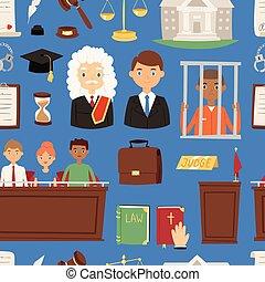 dommer, sagfører, jury, folk, retfærdighed, mønster, out-law, seamless, illustration, bedømmelse, person, vektor, baggrund, illegale, fange, mistænk, forbryder, lov, mand