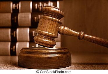 dommere, stakk, bag efter, bøger, gavel, lov