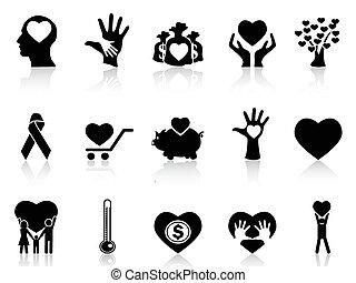 donation, almissen, sort, iconerne