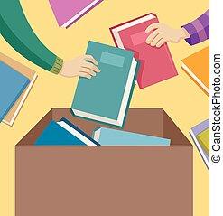 donation, hænder, bog
