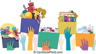 donation, hænder, frivillig, æske