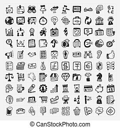 doodle, 100, firma, ikon