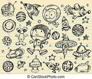 doodle, arealet, sæt, skitse, ydre