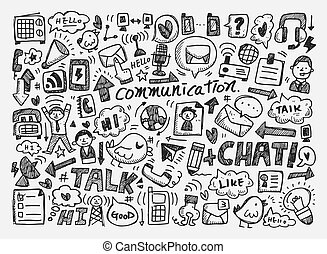 doodle, baggrund, kommunikation