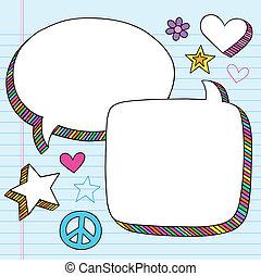 doodle, bobler, vektor, tale, sæt