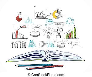 doodle, bog, åbn, firma