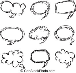 doodle, cartoon, tale, bobler, hånd, affattelseen
