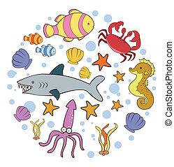 doodle, cirkel, banner, hav dyr