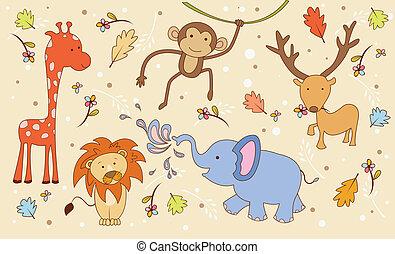 doodle, dyr, safari