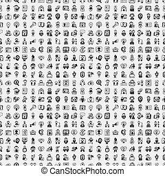 doodle, folk, seamless, mønster