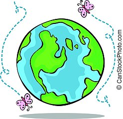 doodle, grønne, samling, verden