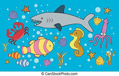 doodle, hav dyr