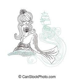 doodle, havfrue, illustration, -, smukke