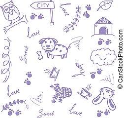 doodle, kunst, dyr, glade