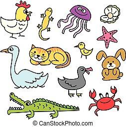 doodle, sæt, cartoon, dyr