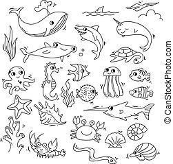 doodle, sæt, hav dyr