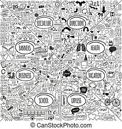 doodle, sæt, mega, iconerne